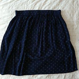 Navy circle skirt with dot pattern